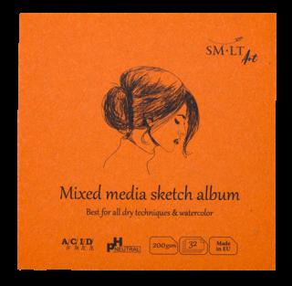 Blok SMLT mix media spirala 200 g 40 ark - 9 x 9 cm