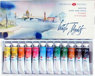 Zestaw akwareli Białe Noce w tubkach - 10ml x 12 kolorów