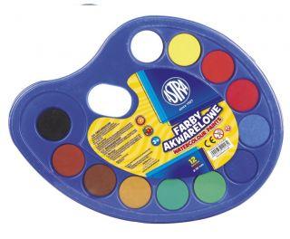 Farby akwarelowe Astra  - fi 30mm - 12 kolorów na paletce