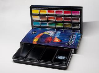 Zestaw farb akwarelowych Aquarius - 24 kolory Andrzeja Gosika w metalowej kasecie