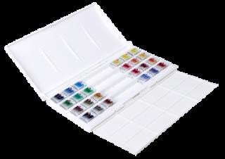 Zestaw akwareli Białe Noce kostki - 24 kolory - op. plastikowe