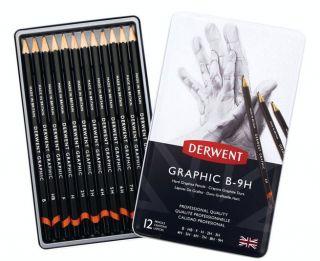 Komplet ołówków Derwent Graphic  - 12szt Hard B-9H