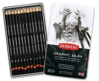 Komplet ołówków Derwent Graphic  - 12szt Medium 4H-6B