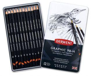 Komplet ołówków Derwent Graphic  - 12szt Soft H-9B