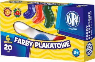 Farby plakatowe Astra  - 6kol x 20ml