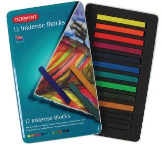 Sztyfty Inktense Blocks - 12 kol. - op. metalowe