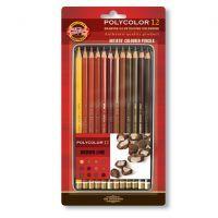 Kredki Polycolor opakowanie metalowe - 3722/BR - 12 kol. odcienie brązu