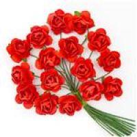 Kwiaty papierowe 2cm 16szt - Hot red