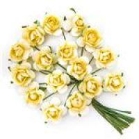 Kwiaty papierowe 2cm 16szt - Lemon chiffon