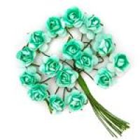 Kwiaty papierowe 2cm 16szt - Mint