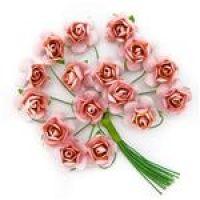 Kwiaty papierowe 2cm 16szt - Powder pink