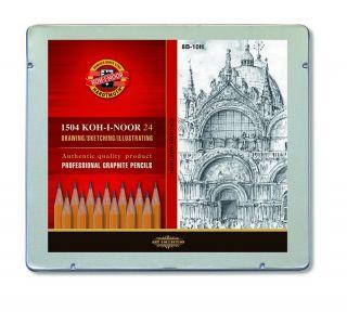 Komplet 24 ołówków Koh-I-Noor 1504 - M - w metalowej kasetce