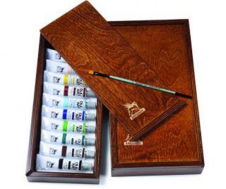 Zestaw farb Olej for Art w drewnianym piórniku - 10 kolorów 20 ml + pędzel