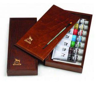 Zestaw farb Olej for Art w drewnianym piórniku - 7 kolorów 60 ml + pędzel