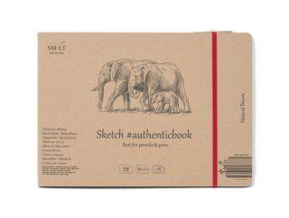 Blok do rysowania SMLT Natural Brown - Słonie - A5 szyty z gumką - 28 ark