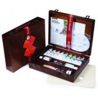 Zestaw farb Maxi Acril 60ml - Kaseta drewniana - 9 kolorów + szpachelka, pędzel, miseczka, paleta, media