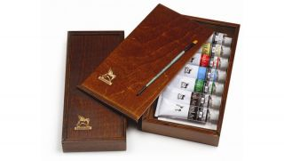 Zestaw farb Maxi Acril 60ml - Piórnik drewniany - 7 kolorów 60 ml + pędzel